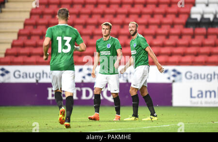 London UK 24th July 2018 - glenn Murray and Solly March of Brighton celebrate wit Pascal Gross (no 13) after he had scored during the pre season friendly football match between Charlton Athletic and Brighton and Hove Albion  at The Valley stadium  Photograph taken by Simon Dack Credit: Simon Dack/Alamy Live News - Stock Photo