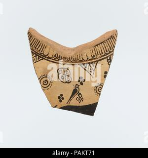 Fragment of a terracotta oinochoe (jug). Culture: East Greek, Wild Goat Style. Dimensions: H. 2 15/16 in. (7.5 cm). Date: 7th century B.C..  Horned quadruped and bird. Museum: Metropolitan Museum of Art, New York, USA. - Stock Photo