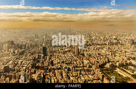 Panoramic view at the city of Taipei in Taiwan as seen from 101 tower building. - Stock Photo
