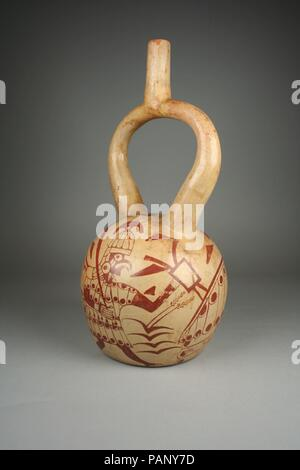 Bird Warrior Bottle. Culture: Moche. Dimensions: Height: 13 7/8in. (35.2cm)  Diameter: 6 5/8in. (16.8cm). Date: 4th-7th century. Museum: Metropolitan Museum of Art, New York, USA. - Stock Photo