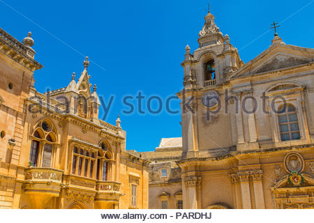 metropolitan cathedral of saint paul in mdina, malta - Stock Photo