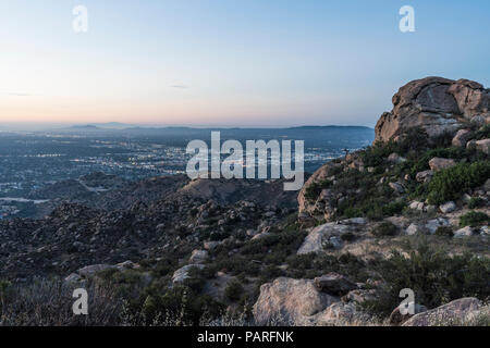 San Fernando Valley in Los Angeles California.  Predawn view from Rocky Peak Park near Porter Ranch and Simi Valley. - Stock Photo