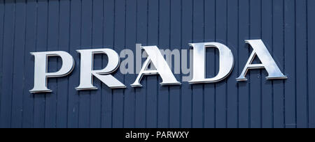 Prada store logo sign, UK - Stock Photo