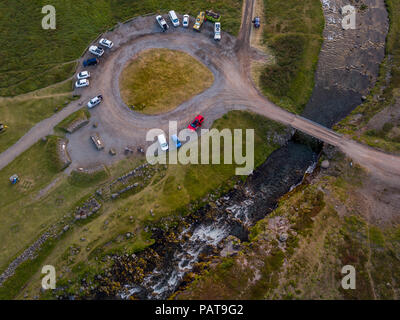 Aerial of view of parking lot by  Dynjandi Waterfall, West Fjords, Iceland - Stock Photo
