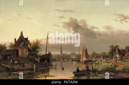 Leickert  Charles Henri Joseph - a Late Afternoon by the River - Stock Photo