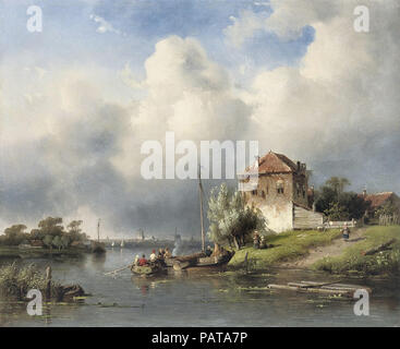 Leickert  Charles Henri Joseph - Dutch River Landscape - Stock Photo