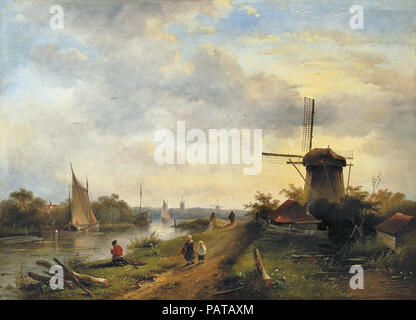 Leickert  Charles Henri Joseph - River Landscape with Windmill - Stock Photo
