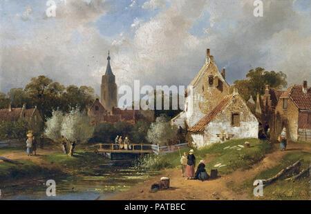 Leickert  Charles Henri Joseph - View of a Riverside Village in Summer - Stock Photo