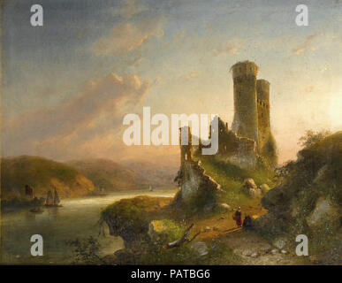 Leickert  Charles Henri Joseph - View of Mayence on the Rhine - Stock Photo