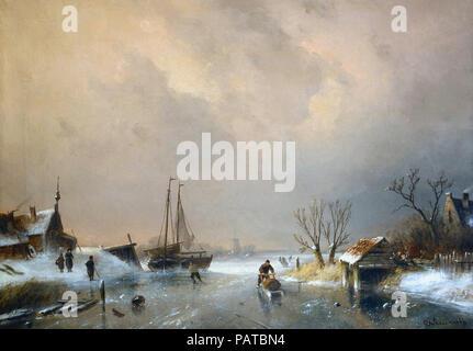 Leickert  Charles Henri Joseph - Winter View - Stock Photo