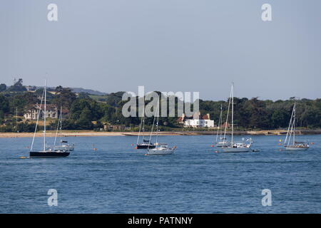 Yachts moored in Yarmouth Isle of Wight Hampshire - Stock Photo