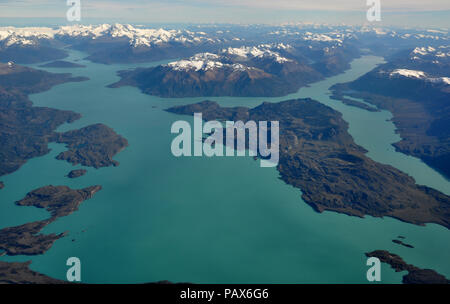 Aerial view of Lago San Martin, Patagonia, or Lago O'Higgins, and the Southern Patagonian Ice Field. Argentina and Chile - Stock Photo