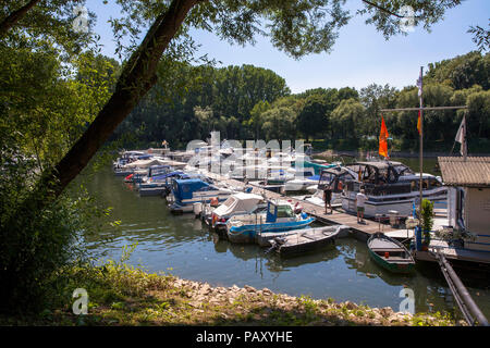 the marina of Mondorf located on an old arm of the river Sieg near the estuary into the Rhine, Mondorf, Germany.  der Yachthafen von Mondorf, er liegt - Stock Photo