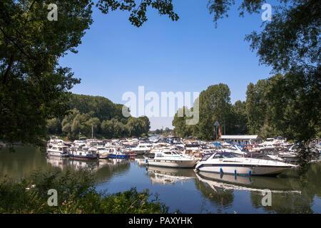 the marina of Mondorf located on an old arm of the river Sieg near the estuary into the Rhine, Mondorf, Germany.  der Yachthafen von Mondorf, er liegt - Stock Photo