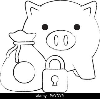 piggy bank with money sack and padlock icon over white background, vector illustration - Stock Photo