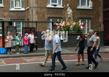 Italian community annual procession Saint Peters,  St Peters Italian Church London people watching   HOMER SYKES - Stock Photo