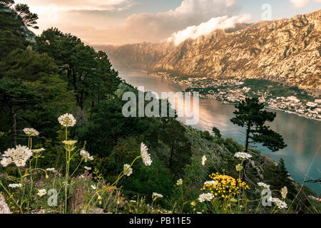 Overlooking the city of Kotor and Kotor bay in Montenegro from high up on a old trail. - Stock Photo