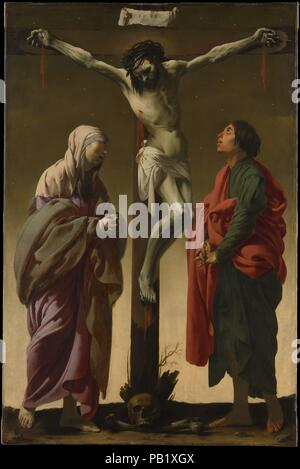 The Crucifixion with the Virgin and Saint John. Artist: Hendrick ter Brugghen (Dutch, The Hague? 1588-1629 Utrecht). Dimensions: 61 x 40 1/4 in. (154.9 x 102.2 cm). Date: ca. 1624-25.  This powerful image was probably painted for a Catholic 'hidden church' in Ter Brugghen's city of Utrecht, where Catholicism was tolerated but not encouraged. The artist, a Protestant, recaptures the devotional intensity of earlier German and Dutch altarpieces in his stark composition and in the angular figure of Christ. However, the rhythmic draperies, convincing volumes, and folkish figures of Mary and John re - Stock Photo