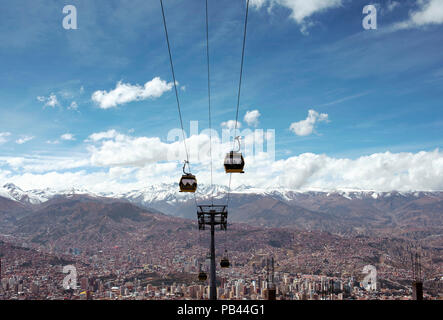 Skyline view of La Paz from the El Alto (Altiplano highlands) with 'Mi Teleferico' (a cable car network that operates as public transport). June 2018 - Stock Photo