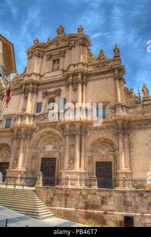 HDR image of the colegiata de San Patricio church in the plaza de espana in Lorca Murcia Spain - Stock Photo