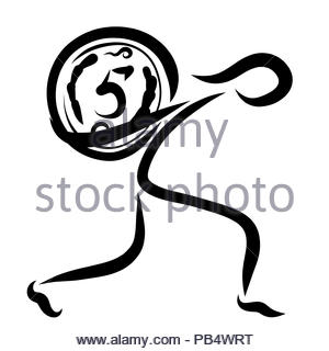 Abstract image of a man carrying a big coin with a number five - Stock Photo