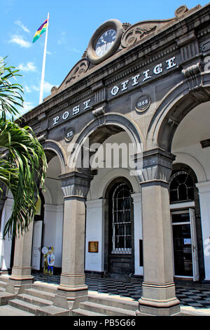 Exterior view of the birthplace of the Mauritius 'Post Office' stamp, the Port Louis Post Office, Port Louis, Mauritius - Stock Photo
