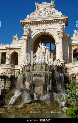 of fabulous Palais Longchamp in Marseille, France, comprising 2 museums, water castle, colonnades, fountains and sculpture - Stock Photo