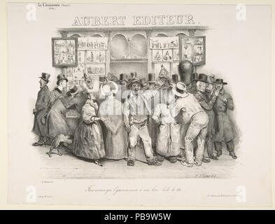 The Publisher Aubert (You must admit the government has a comic appearance). Artist: After Charles Philipon (French, Lyons 1800-1862 Paris); Charles-Joseph Traviès (French, 1804-1859). Dimensions: image: 7 5/8 x 10 13/16 in. (19.4 x 27.5 cm)  sheet: 10 3/16 x 13 1/4 in. (25.9 x 33.7 cm). Lithographer: Lithographed by Delaporte (French, 19th century) , Paris. Series/Portfolio: published in la Caricature, no. 60. Date: 1831. Museum: Metropolitan Museum of Art, New York, USA. - Stock Photo