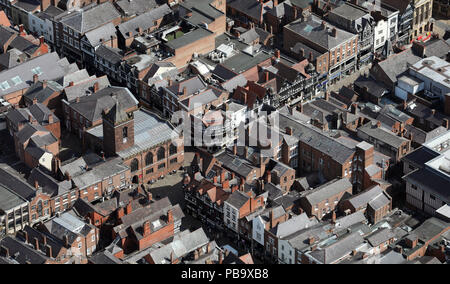 aerial view of Bridge Street in Chester city centre - Stock Photo