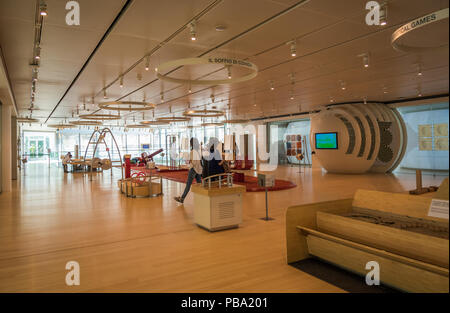 SCIENCE MUSEUM OF TRENTO, Italy – april 19, 2018: expositive interactive spaces of the famous Museum denominate MUSE. Renzo Piano architect building - Stock Photo