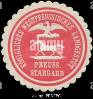 Alte Briefverschlussmarke aus Papier, welche seit ca. 1850 von Behoerden, Anwaelten, Notaren und Firmen zum verschliessen der Post verwendet wurde. 1391 Siegelmarke Gestüt W0329042 - Stock Photo