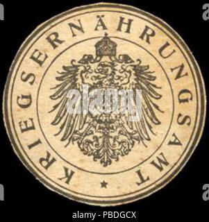 Alte Briefverschlussmarke aus Papier, welche seit ca. 1850 von Behoerden, Anwaelten, Notaren und Firmen zum verschliessen der Post verwendet wurde. 1446 Siegelmarke Kriegsernährungsamt W0221498 - Stock Photo