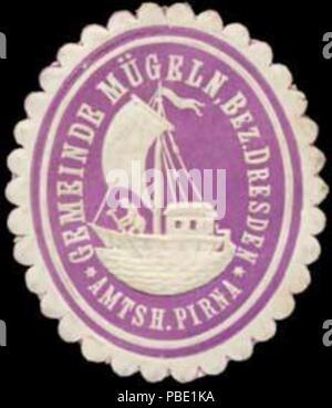 Alte Briefverschlussmarke aus Papier, welche seit ca. 1850 von Behoerden, Anwaelten, Notaren und Firmen zum verschliessen der Post verwendet wurde. 1370 Siegelmarke Gemeinde Mügeln W0358553 - Stock Photo