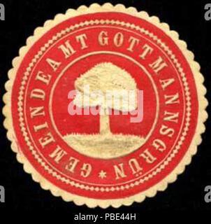 Alte Briefverschlussmarke aus Papier, welche seit ca. 1850 von Behoerden, Anwaelten, Notaren und Firmen zum verschliessen der Post verwendet wurde. 1385 Siegelmarke Gemeindeamt Gottmannsgrün W0301234 - Stock Photo
