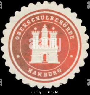 Alte Briefverschlussmarke aus Papier, welche seit ca. 1850 von Behoerden, Anwaelten, Notaren und Firmen zum verschliessen der Post verwendet wurde. 1494 Siegelmarke Oberschulbehörde W0379458 - Stock Photo