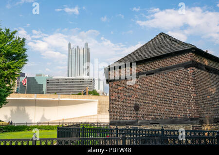 PITTSBURGH, PA - JUNE 16, 2018: Pittsburgh, Pennsylvania skyline  from Fort Pitt Blockhouse at Point State Park. - Stock Photo