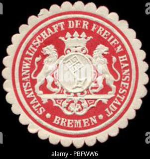 1513 Siegelmarke Staatsanwaltschaft bei der Freien Hansestadt - Bremen W0226657 - Stock Photo