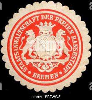 1513 Siegelmarke Staatsanwaltschaft der Freien Hansestadt - Bremen W0204831 - Stock Photo