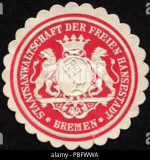 1513 Siegelmarke Staatsanwaltschaft der Freien Hansestadt - Bremen W0232376 - Stock Photo