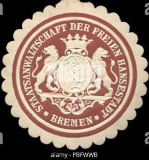 1513 Siegelmarke Staatsanwaltschaft der freien Hansestadt Bremen W0210527 - Stock Photo
