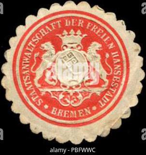 1513 Siegelmarke Staatsanwaltschaft der Freien Hansestadt Bremen W0211377 - Stock Photo