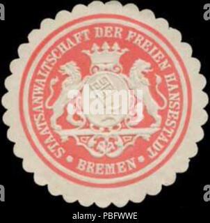 1513 Siegelmarke Staatsanwaltschaft der Freien Hansestadt Bremen W0355893 - Stock Photo