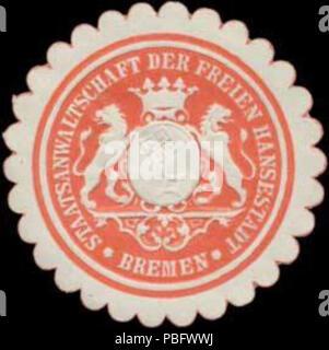 1513 Siegelmarke Staatsanwaltschaft der Freien und Hansestadt Bremen W0361467 - Stock Photo