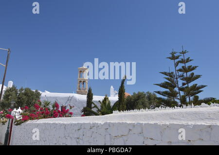 Courtyard And Bell Tower Of Panagia Tourliani Monastery In Ano Mera On The Island Of Mykonos. Architecture Landscapes Travels Cruises. July 3, 2018. A - Stock Photo