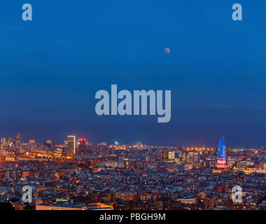 Total Lunar Eclipse over Barcelona on July 27,2018 - Stock Photo