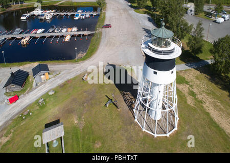 Javre, Sweden - June 21, 2018: Aerial view of the lighthouse at Javre. - Stock Photo