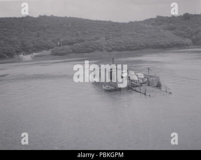 Vintage Photograph of The King Harry Ferry on The River Fal in Cornwall - Stock Photo
