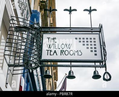 The Willow Tea Rooms Rennie Mackintosh Art Nouveau style sign, Buchanan Street, Glasgow, Scotland, UK - Stock Photo