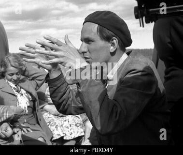 Ingmar Bergman. 1918-2007.  Swedish film director. Pictured here 1950 on the film set of the movie Summer Interlude. The film had premiere 1951. Photographer: Kristoffersson/az33/9 - Stock Photo