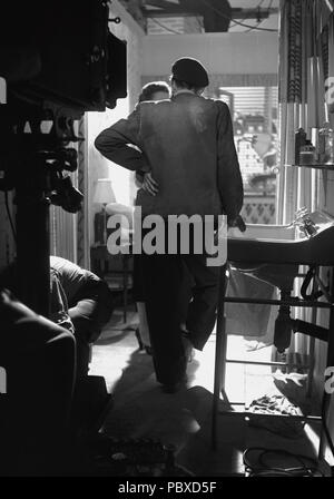 Ingmar Bergman. 1918-2007.  Swedish film director. Pictured here 1950 on the film set of the movie High Tension. The film had premiere 1950. Photographer: Kristoffersson/az56/11 - Stock Photo